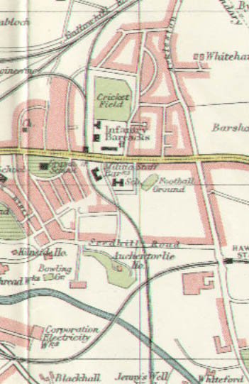 1923 map of the area. The station is the black square in the centre immediately above Glasgow Road (yellow).