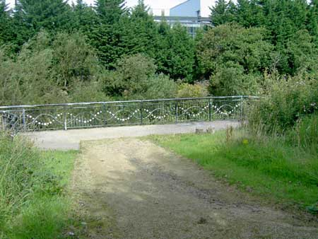 Platform behind Hunterhill high flats - was originally part of  a railway bridge which crossed the river Cart