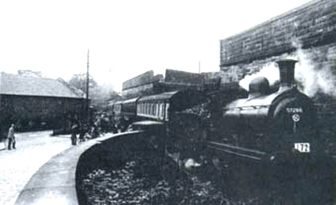 Special  enthusiast excursion train  crossing Lacy Street having left Cecil Street Coal yard   courtesy of Mr Roberts, Paisley Museum.