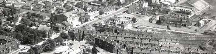 Aerial photo 1949 with Dummy Railway wall up Lacy Street (middle right to left), Grammar school, Kelburne Cinema and Sherwood Church