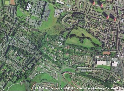 Potterhill branch (line of trees) curves from top left - meikleriggs/ferguslie cricket ground - to bottom right