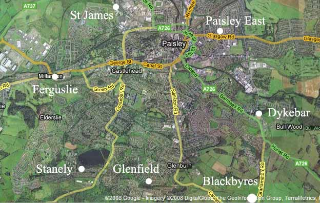 Satellite image of Paisley  with location of stations